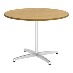 "Bush - Bush 300 Series 42"" Round Conference Table in Modern Cherry - Bush - Conference Tables - 99TBX42RMCSVK - Elegant and classic the BBF 42"" Round Conference Table takes collaborative sophistication to a new level. With eye-catching appeal and timeless styling the compact footprint is perfect for conference rooms private offices or open spaces. Offers executive-level luxury at a modest cost. Finished underside prevents snagged clothing. Wide round top allows teams to congregate but is still small enough for most offices. Metal leg base with stable cross-member support system includes a leveling guide for uneven floors. Continuous edge banding protects against nicks and dings from collisions. Durable Dia mond Coat finish resists stains and scratches. Complete with all connectors and mounting plates for installation. Includes BBF limited lifetime warranty."