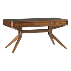 Lexington - Sligh Longboat Key Lido Shores Desk - Two box drawers flank the center flip-down center drawer providing storage and easy access to the keyboard while relaxing your hands on the ergonomic palm rest. The wood framed leather top creates an ideal work surface.