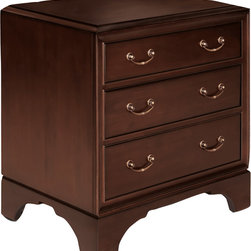 Velvet & Clover - Velvet & Clover Meyers Park Three Drawer Nightstand - Meyers Park Three Drawer Nightstand. A classic piece like this will never go out of style. As part of the Meyers Park collection from Broughton Hall, the Three Drawer Nightstand is crafted from solid mahogany and features sleek curved drawer pulls. Place one on each side of the bed and finish with simple lamps for a complete look. The stunning craftsmanship of this nightstand makes it a piece that will last for years to come. Solid mahoganyShips in 3-4 weeks