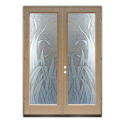 "Glass Doors - Frosted Glass Front Entry Doors - REEDS 3D GC - Glass Front Entry Doors that Make a Statement! Your front entry door is your home's initial focal point and glass front doors by Sans Soucie with frosted, etched glass designs create a unique, custom effect while providing privacy AND light thru exquisite, quality designs!  Available any size, all glass front doors are custom made to order and ship worldwide at reasonable prices.  Exterior entry door glass will be tempered, dual pane (an equally efficient single 1/2"" thick pane is used in our fiberglass doors).  Selling both the glass inserts for front doors as well as entry doors with glass, Sans Soucie art glass doors are available in 8 woods and Plastpro fiberglass in both smooth surface or a grain texture, as a slab door or prehung in the jamb - any size.   From simple frosted glass effects to our more extravagant 3D sculpture carved, painted and stained glass .. and everything in between, Sans Soucie designs are sandblasted different ways creating not only different effects, but different price levels.   The ""same design, done different"" - with no limit to design, there's something for every decor, any style.  The privacy you need is created without sacrificing sunlight!  Price will vary by design complexity and type of effect:  Specialty Glass and Frosted Glass.  Inside our fun, easy to use online Glass and Entry Door Designer, you'll get instant pricing on everything as YOU customize your door and glass!  When you're all finished designing, you can place your order online!   We're here to answer any questions you have so please call (877) 331-339 to speak to a knowledgeable representative!   Doors ship worldwide at reasonable prices from Palm Desert, California with delivery time ranges between 3-8 weeks depending on door material and glass effect selected.  (Doug Fir or Fiberglass in Frosted Effects allow 3 weeks, Specialty Woods and Glass  [2D, 3D, Leaded] will require approx. 8 weeks)."