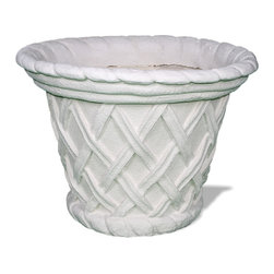 Amedeo Design, LLC - USA - Basketweave Round Planter - The Basket Weave Round Planter is a classical Italianate Basketweave Planter's helix shape dating to Roman times. Though they look like ancient European & Mediterranean designs in carved stone, our products are made of lightweight weatherproof ResinStone. So authentic, you actually have to lift these planters to convince yourself they're not stone at all! Made in USA.
