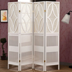 Coaster - Folding Screen, White - This four panel folding screen features intricate carvings in a white finish. Add this stylish folding screen to any room as a decorative back drop or a room divider.