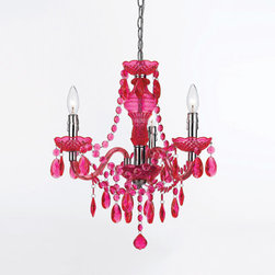 AF Lighting - Fulton Hot Pink Chandelier By Angelo Home - This mini chandelier comes in hot pink, purple and neon orange and will look good in any tween or teen room or bathroom. I also like it for a laundry room because it's an often-used room that's often forgotten when it comes to decorating.