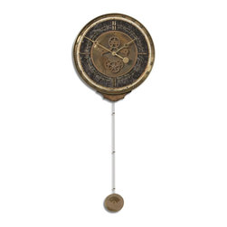 Uttermost - Uttermost Leonardo Chronograph Black Traditional Wall Clock X-30060 - Weathered, laminated clock face with a cast brass outer rim, brass center components and long working pendulum. Requires 1-AA and 1-D battery.