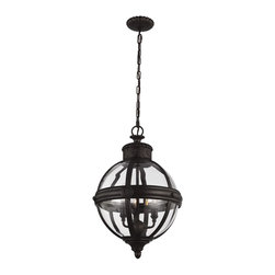 Murray Feiss - Murray Feiss Adams Traditional Pendant Light X-BRO4921P - Inspired by the Victorian age, the Adams Collection of pendants features classic, glass orbs with vintage cast rosette details. Both the crown and the ceiling canopy are surrounded by a decorative metal casing to achieve superior detailing with the same rosette detail featured on the center strap.