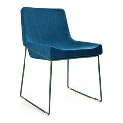 Irving Chair, Blue Fabric on Green - This is more of a peacock blue than a cobalt, but I love the vibrant shade paired with a quirky modern shape. This would be a great — and comfortable — dining chair in a modern scheme.