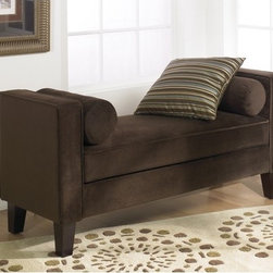 Ave Six - Curves Velvet Entryway Bench - Features: -100% Polyester chocolate velvet fabric.-Covered in high performance easy care fabric.-Box spring seat for durability and comfort.-2 Bolsters included.-Kiln dried hardwood frame construction.-Solid wood legs in a rich espresso finish.-Curves collection.-Distressed: No.-Collection: Curves.Dimensions: -Overall Product Weight: 43 lbs.