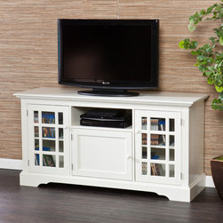 Upton Home - Upton Home Trevorton Off-White TV/ Media Stand - This contemporary media stand has many compartments to store your DVD collection. It has a beautiful off-white finish that will brighten your living room. The tempered glass cabinet doors are sturdy and allow you to view stored items.