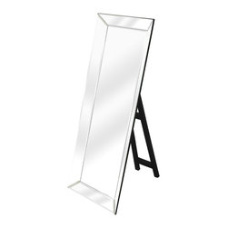 Butler Specialty - Butler Emerson Modern Floor-Standing Mirror - This dramatic mirror framed in mirror with a simple black easel stand is bound to add glamour to the boudoir or any other dressing space. Crafted from select wood solids and wood products, it features clear beveled edge mirrored glass. Smile when you get up close... your bound to like what you see!