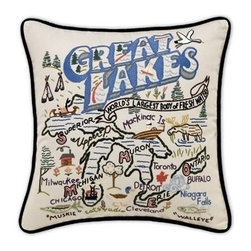 CATSTUDIO - Great Lakes Pillow by Catstudio - Celebrate the states! These pillows from Catstudio's Geography Collection are delightful keepsakes for remembering the hometown you grew up in or commemorating your favorite vacation spot. Embroidered entirely by hand (over 35 hours go into each one!) with black velvet piping, these make the perfect gift for all occasions! Removable cotton cover and polyfill pillow form. Cover is dry clean only.