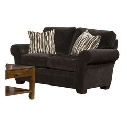 Broyhill - Broyhill Zachary Dark Brown Loveseat with Affinity Wood Finish - Broyhill - Loveseats - 79021Q -About This Product: