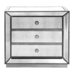 Z Gallerie - Omni Mirrored 3 Drawer Chest - Our Omni Collection demonstrates a striking use of style and restraint. While elegantly reflecting its surroundings this functional collection combines glamour with purpose. The clean lines of the cases are outlined in a hand applied silver leaf and silver beaded trim while the drawers are accented with a brushed silver hardware.