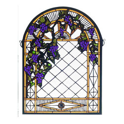 "Meyda Tiffany - 22""W X 30""H Grape Diamond Trellis Stained Glass Window - Radiant Concord Purple jewels, Vineyard Green leaves and glistening dew kissed Bark Brown vines wrap around a Golden Sunshine bands on a diamond grid of Clear seeded glass. Bring sunny vineyards to your own home with this lovely Meyda Tiffany original stained glass window. A solid brass hanging bracket and chains are included"