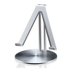 Just Mobile - Just Mobile UpStand - Just Mobile UpStand is the high-style desktop stand for iPad. Precision engineered from aluminum, the UpStand's supporting grips are finished in rubber to hold your iPad firmly in place and keep it pristine. It's compatible with most iPad cases, too.