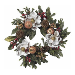 "24"" Magnolia Pinecone and Berry Wreath - No matter what your decor or mood, this incredible holiday wreath will fit right in. Combining the best of everything, the green leaves and pine fronds provide a backdrop for the delicate magnolias, lush fruit, and beautiful berries of various colors. A gathering of pinecones complete the look, which can only be described as ""absolutely perfect "". Height= 24 in x Width= 24 in x Depth= 24 in"