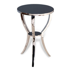Interlude Home - Interlude Home Finn Round Side Table - These three nesting tables use recylced textile stamps as the surface inlay for minute detail that adds to the overall upcycled theme.