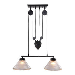 ZUO PURE - Garnet Ceiling Lamp Antique Black Gold - A precise reproduction of an antique light with an industrial past, the Garnet ceiling lamp's pulley system and antique patina finish will turn heads. The lamp comes with two 60w bulbs and is UL approved.
