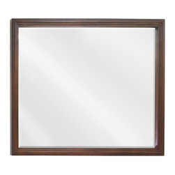 "Hardware Resources - Elements Bathroom Mirror - Large Walnut Compton Mirror by Bath Elements 44"" x 34"" large walnut reed-frame mirror with beveled glass Corresponds with VAN029E, VAN029-48E, VAN029D-60E -"