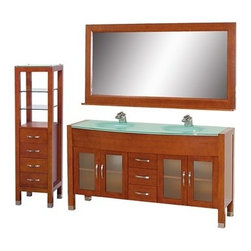 """Wyndham Collection(R) - Daytona 63"""" Double Bathroom Vanity Set by Wyndham Collection - Cherry w/ Drawers - The Daytona 63"""" Double Bathroom Vanity Set - a modern classic with elegant, contemporary lines. This beautiful centerpiece, made in solid, eco-friendly zero emissions wood, comes complete with mirror and choice of counter for any decor. From fully extending drawer glides and soft-close doors to the 3/4"""" glass, marble, or man-made stone counter, quality comes first, like all Wyndham Collection products. Doors are made with fully framed glass inserts, and back paneling is standard. Available in gorgeous contemporary Cherry or rich, warm Espresso (a true Espresso that's not almost black to cover inferior wood imperfections). Transform your bathroom into a talking point with this Wyndham Collection original design, only available in limited numbers. All counters are pre-drilled for single-hole faucets, but stone counters may have additional holes drilled on-site. Available in additional sizes, finishes and counter options. Features Constructed of solid, environmentally friendly, zero emissions wood, engineered to prevent warping and last a lifetime Includes single-hole or widespread 3-hole faucet mount Includes drain assembly and P-trap Includes mirror and side cabinet Please note that backsplashes MUST be ordered at the same time as the vanity and counter. They cannot be shipped as separate items. Minor shade variations are possible between countertop and backsplash. In the unlikely event that a backsplash arrives damaged you will be given a full refund for the backsplash but it can not be replaced due to the likelihood of breakage. How to handle your counter Spec Sheet Installation Guide for VanitySpec Sheet for WC-K-W045 Natural stone like marble and granite, while otherwise durable, are vulnerable to staining from hair dye, ink, tea, coffee, oily materials such as hand cream or milk, and can be etched by acidic substances such as alcohol and soft drinks. Please"""