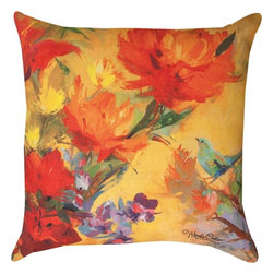 Pair of `Martha`s Choice` Floral Print Indoor / Outdoor Throw Pillows - This pair of 18 inch by 18 inch woven throw pillows adds a wonderful accent to your home or patio. The pillows have ClimaWeave weatherproof exteriors, that resist both moisture and fading. The pillows feature the same `Martha`s Choice` flower and bird print, by artist Martha Collins, on both front and back. They have 100% polyester stuffing. These pillows are crafted with pride in the Blue Ridge Mountains of North Carolina, and add a quality accent to your home.  They make great gifts for flower or bird lovers.