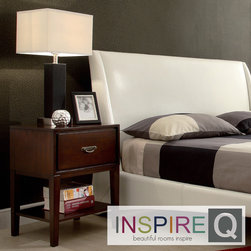 Inspire Q - Inspire Q Neo Rectangle Espresso Accent Table Nightstand - Dress up your bedside with this espresso accent table, which features stylish and durable French dovetailed drawer construction. The single drawer slides out smoothly and is large enough to store books and magazines, and there's also a shelf underneath.