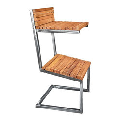 """Shiner - Shiner Spring Barstool, Black, Calico - Modern, eco-friendly furnishings made in Atlanta, Georgia. Our goal is to transform tons of landfill-destined materials into killer designs. By building pieces out of disposable elements, we refine the future by upcycling the past. Everything from the steel, hardwoods, and cardboard to our lexan and linen is diverted from the incinerator. We strive to make every piece knock-down for ease of shipping with less environmental impact. This piece is a carbon steel frame your choice of blackened or brushed steel with wood in your choice of Pine, Oak, Walnut, or Calico (all woods). The Spring barstool measures 18""""Wx16.25""""Dx28.5""""H."""