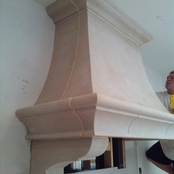 Natural Stone stove hood - A natural custom stone oven hood made of Cottonwood Limestone.  Stone and fabrication done by Sturgis Materials.