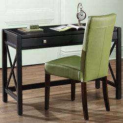 Home Decorators Collection - Anna Desk - With its modern finish and contemporary X-shaped design, this piece of home office furniture will help you stay productive in style. The spacious center drawer is great for office supplies. Buy today.Features a quality-crafted wood construction for years of use.Has 1 center drawer and chrome hardware.In a popular antique black finish for added beauty and protection.