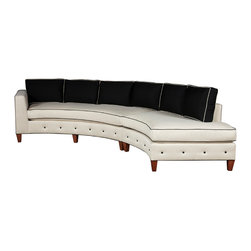 Raegan Curve - black and white, straight - Curved Sectional 165w x 36d x 35h