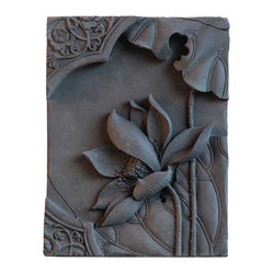Vintage Maya - Lotus Wall Plaque - Give your walls meaning. This handmade bamboo charcoal and ceramic wall plaque features a delicate lotus flower — the symbol of good fortune. Be sure to hang this inspirational artwork someplace special.