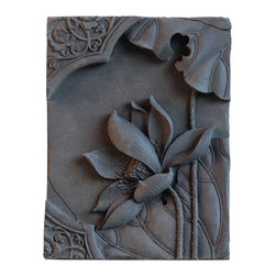 Vintage Maya - Lotus Decorative Wall Plaque - Give your walls meaning. This handmade bamboo charcoal and ceramic wall plaque features a delicate lotus flower — the symbol of good fortune. Be sure to hang this inspirational artwork someplace special.