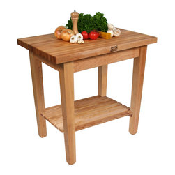 "John Boos - John Boos ""C"" Country Work Table with Maple Butcher Block Top - John Boos Country Butcher Block Work Table (Model C) with maple edge-grain top. In 7 sizes. From 0 to 2 shelves. Optional wheels, drawer, towel rack."