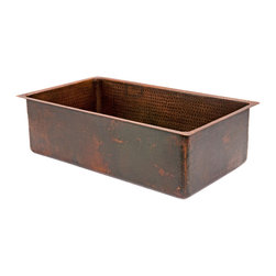 "Premier Copper Products - 30"" Hammered Copper Kitchen Single Basin Sink - 30"" Hammered Copper Kitchen Single Basin Sink"