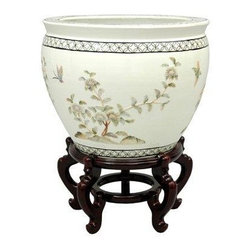 """Oriental Furniture - 16"""" White Birds & Flowers Fishbowl - This exquisite fishbowl features a hand-carved mother of pearl birds and flowers design, finished in a luxurious white lacquer. It measures 16"""" in diameter and 10.5"""" in diameter at the base. The inside is finished in a matte white lacquer with a green and pink floral design.  Display it by itself or on a stand to add a unique and refined Oriental accent to your home."""