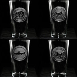 """Crystal Imagery, Inc. - Woodland Animals Glasses, Pint Pub Engraved Glassware - Engraved nature lover pint glass drinking glass set includes bear, deer, fish and duck and is a great gift idea for the man or woman who loves animals, hunting, fishing and the great outdoors. Deeply carved using our sand carving technique, each pub glass is meticulously custom made to order making it the perfect gift for those seeking unique gift ideas for men and women alike.  Seeking a gift for your mountain retreat, lodge or cabin? This wildlife set would be ideal. This drinking glass set is also perfect for the man cave or basement bar.  Ideal as a beer glass, iced tea glass, water glass, milk glass. Our most versatile glass in the collection.  Measures 6"""" high by 3.5"""" wide. At 16 oz, our pub glass will hold plenty of your favorite beverage. Dishwasher safe. Made in the USA."""