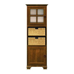 Howard Miller Custom - Lily Cabinet w 3 Shelves in Saratoga Cherry - This cabinet is finished in Saratoga Cherry on select Hardwoods and Veneers, with Antique Bronze hardware. 1 door with inset panel. 1 door with plain Glass and cross pane. 3 adjustable interior shelves and 2 large woven baskets. Cove profile top and Ogee profile base. Hardware: Antique Bronze ring pulls on doors. Features soft-close doors and metal shelf clips. 27 1/4 in. W x 17 in. D x 78 in. H