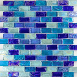 "Ocean Pool Mosaic - Dark Blue Blend Uniform Brick Blue Bricks Glossy & Iridescent Glass - Sheet size:  11 7/8"" x 11 7/8""        Tile Size:   3/4"" x 1 5/8""        Tiles per sheet:  98        Tile thickness:  1/4""        Grout Joints:  1/8""        Sheet Mount:  Plastic Face     -"