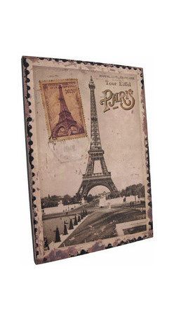Vintage Eiffel Tower Postage Stamp Paris France Canvas - This printed canvas features an enlarged image of a vintage postage stamp from Paris, France with the Eiffel tower and a 1948 postmark. It measures 15 inches tall, 10 3/8 inches wide, 5/8 of an inch wide and mounts to the wall with a single nail by the picture hanger on the back of the wooden frame. This piece is a great addition to French themed decor, and makes a great gift for the worldly traveler.