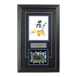 "Heritage Sports Art - Original art of the NCAA 1993 Notre Dame Fighting Irish uniform - This beautifully framed NCAA football piece features an original piece of watercolor artwork glass-framed in an attractive two inch wide black resin frame with a double mat. The outer dimensions of the framed piece are approximately 17"" wide x 28"" high, although the exact size will vary according to the size of the original piece of art. At the core of the framed piece is the actual piece of original artwork as painted by the artist on textured 100% rag, water-marked watercolor paper. In many cases the original artwork has handwritten notes in pencil from the artist. Simply put, this is beautiful, one-of-a-kind artwork. The outer mat is a rich textured black acid-free mat with a decorative inset white v-groove, while the inner mat is a complimentary colored acid-free mat reflecting one of the team's primary colors. The image of this framed piece shows the mat color that we use (Medium Blue). Beneath the artwork is a silver plate with black text describing the original artwork. The text for this piece will read: This is an original, one-of-a-kind watercolor painting of the 1993 Notre Dame Fighting Irish uniform worn by #75 Aaron Taylor and is to be used in the creation of products like this Notre Dame Fighting Irish uniform evolution print and thousands of Notre Dame products to be sold across North America. This original piece of art was painted by artist Nola McConnan for Maple Leaf Productions Ltd. Beneath the silver plate is a 6.5"" x 7"" reproduction of a uniform evolution print that celebrates the history of the team. The print beautifully illustrates the chronological evolution of the team's uniform and shows you how the original art was used in the creation of this print. If you look closely, you will see that the print features the actual artwork being offered for sale. The 6.5"" x 7"" print is shown above. The piece is framed with an extremely high quality framing glass. We have used this glass style for many years with excellent results. We package every piece very carefully in a double layer of bubble wrap and a rigid double-wall cardboard package to avoid breakage at any point during the shipping process, but if damage does occur, we will gladly repair, replace or refund. Please note that all of our products come with a 90 day 100% satisfaction guarantee. Each framed piece also comes with a two page letter signed by Scott Sillcox describing the history behind the art. If there was an extra-special story about your piece of art, that story will be included in the letter. When you receive your framed piece, you should find the letter lightly attached to the front of the framed piece. If you have any questions, at any time, about the actual artwork or about any of the artist's handwritten notes on the artwork, I would love to tell you about them. After placing your order, please click the ""Contact Seller"" button to message me and I will tell you everything I can about your original piece of art. The artists and I spent well over ten years of our lives creating these pieces of original artwork, and in many cases there are stories I can tell you about your actual piece of artwork that might add an extra element of interest in your one-of-a-kind purchase."