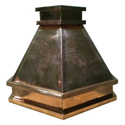 """myCustomMade - Polished Copper Range Hood """"Columbus"""", Natural Fired, 48"""", Kitchen Island - Custom made design makes this polished copper range hood a great addition to the kitchen. Customize the modern copper hood by choosing natural fired, coffee, honey or antique finishing. """"Columbus"""" style is produced as 30, 36 or 48 inches wide. Its depth is 22"""", height 36"""" and it takes about thirty days to deliver. Once purchased specify the hood 220000012 version as wall mount or kitchen island. Enjoy free delivery."""