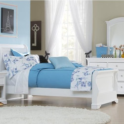 NE Kids - Walnut Street Riley Sleigh Bed - White - FUB547 - Shop for Beds from Hayneedle.com! The Riley Sleigh Bed White is a perfect fit for cottage-style or brightly colored bedrooms. Its frame is built using a combination of sturdy poplar hardwoods and select veneers and features a gently curved sleight design on its head- and footboard. An optional trundle or two spacious pull-out drawers and a small open storage area are offered with the piece. The solid iron drawer pulls feature a brushed nickel finish and complement the brilliant white finish handsomely. Piece is mattress-ready with a complete slat system. Full and twin size frames available (see below).Dimensions:Twin: 86.5L x 41W x 46H inchesFull: 86.5L x 55.75W x 46H inchesAbout New Energy Kids NE Kids is a company with a mission: to create and import truly unique furniture for your child. For over thirty years they've been accomplishing this mission with flying colors one room at a time. Not only will these products look fabulous they will provide perfect safety for your children by adhering to the highest standards set by the American Society for Testing and Material and the Consumer Products Safety Commission. Your kids are in the best of hands and everyone will appreciate these high-quality one-of-a-kind pieces for years to come.