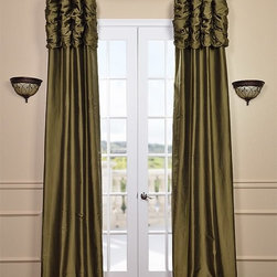 Ruched Sage Green Thai Silk Curtain - We've taken our popular Thai Silk panels and added a ruched header valance creating the most luxurious, over the top style in window treatments out there. This style was designed and meant to be stationary and used as decorative panels to frame out your window.