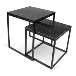 Temahome - Temahome Prairie Nesting Tables, Black-Marble, Black-Legs - A modular coffee table system available in multiple finishes and colors.