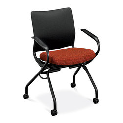 Hon - Perpetual Nesting Armchairs - You'll flip over this seat — and it'll flip for you, too. It folds up when not in use to fit snugly against its mates so you can line them up in an unused office corner (or closet) to save space. When they're in use, they'll save spines with a super comfortable back and padded seat.