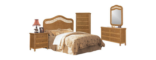 SEAWINDS TRADING - Santa Cruz Wicker Rattan 5 Piece Tropical Bedroom Furniture Set (Antique Honey) - This 5 piece furniture set will ship free within 3 days of ordering.