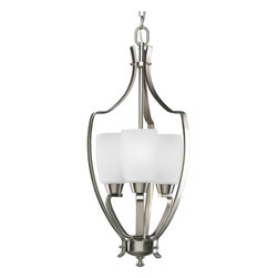 Progress Lighting - Progress Lighting Westin Transitional Foyer Light X-90-9053P - An exquisite three-light Transitional Foyer Light from Progress Lighting features etched glass and arching rectangular arms with an elegant curved frame work. Great combination of Brushed Nickel finish and Etched Glass shade that provides the best foyer lighting for your home.