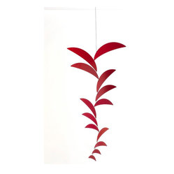 Ekko Workshop - Crescent Cascade Mobile - Red - A simple hanging mobile is an elegant way to infuse a room with color, shape and whimsy. Pick from four monochromatic color palettes and then find the perfect place to hang this sculptural piece. Go for a sunny spot where each crescent can create dancing shadows around your space for maximum impact.