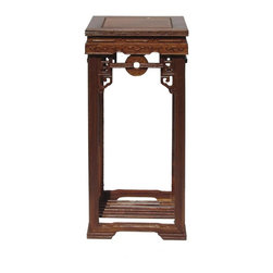 Golden Lotus - Chinese Huali Rosewood Coin Pattern Square Plant Stand - This is a traditional Chinese Huali rosewood plant stand / display stand. The style is simple with oriental round coin pattern at the apron.