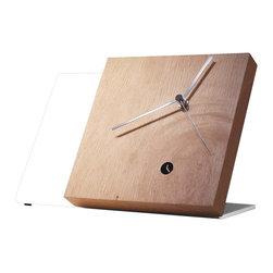 Modo Bath - Tact Mixte White/Rustic Table Clock - Tact Mixte White/Rustic Wood Table Clock with Hands in Chrome