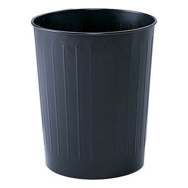 "Safco - Round Wastebasket, 23-1/2 Qt. (Qty.6) - Black - Got dibs on durability? This popular receptacle is puncture resistant, solid-ribbed steel construction with rolled wire rim tops that won't burn, melt or emit toxic fumes. The bottom is recessed 1"" to provide air circulation in the event of fire. Meets OSHA requirements for waste receptacles and qualify under NFPA Life Safety Code 101, Section 31 and is UL classified. Durable, scratch resistant powder coat finish."